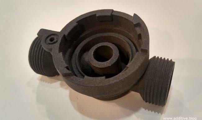 Photo of 3D printed part using laser sintered black nylon